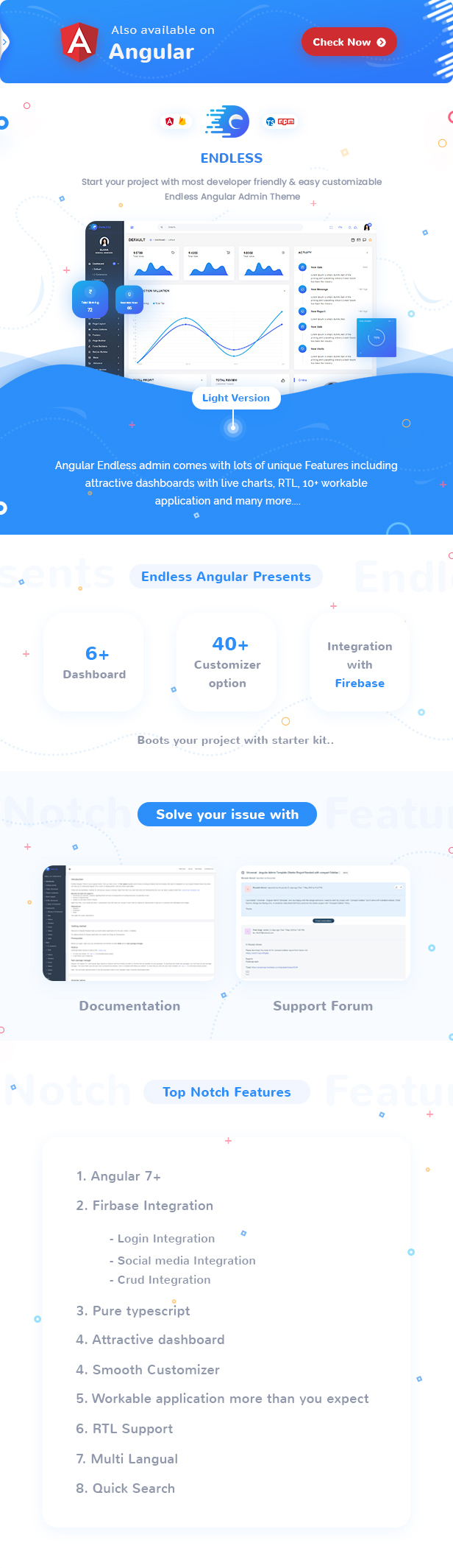 Endless Angular Admin Dashboard theme